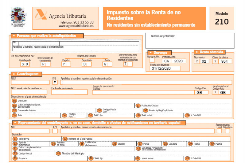 """A simple guide to Spanish Tax Form 210 (""""Modelo 210"""")"""